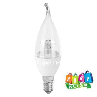 لامپ ال ای دی 6 وات اشکی شفاف تاج دار پایه E14