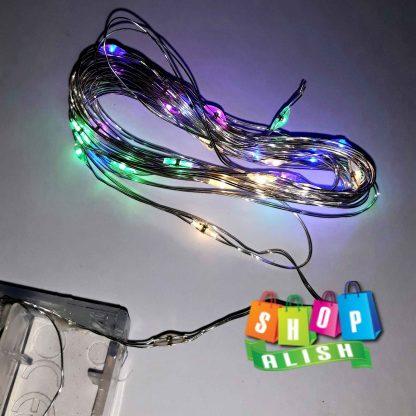 نور ریسه هفت رنگ ۳ متری سیم فلزی باتری خور کلیدار
